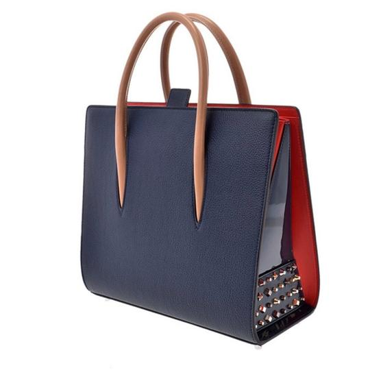 Christian Louboutin Paloma Palomar Calfskin Leather Tote in Blue Red Black Image 1