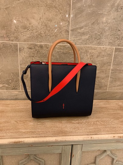 Christian Louboutin Paloma Palomar Calfskin Leather Tote in Blue Red Black Image 8