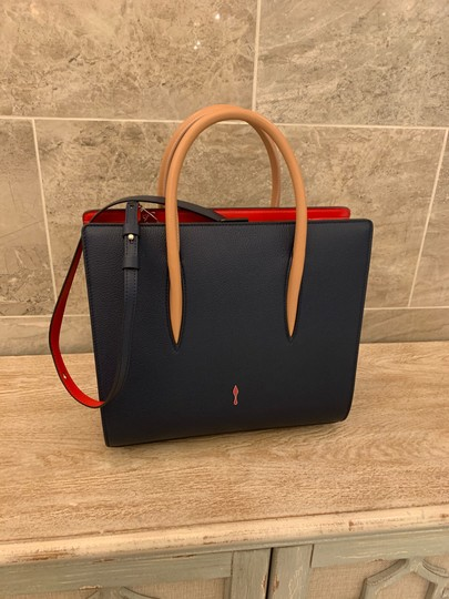 Christian Louboutin Paloma Palomar Calfskin Leather Tote in Blue Red Black Image 9