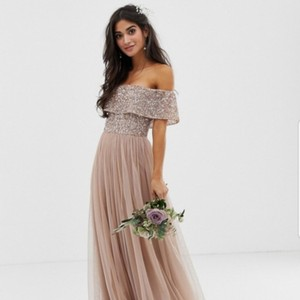Taupe Blush Tulle Petite Bardot Maxi W Tonal Delicate Sequence Formal Bridesmaid/Mob Dress Size 2 (XS)