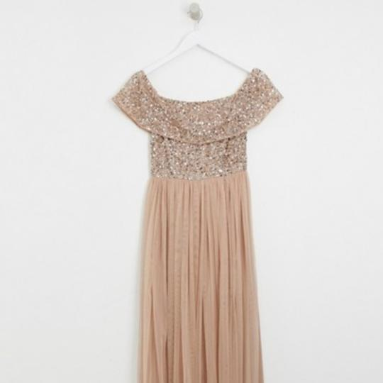 Taupe Blush Tulle Petite Bardot Maxi W Tonal Delicate Sequence Formal Bridesmaid/Mob Dress Size 2 (XS) Image 2