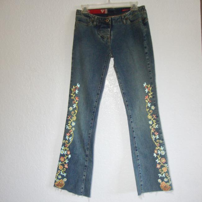 Guess Crystals Low Rise Stretchy Button Fly Flare Leg Jeans-Medium Wash Image 1