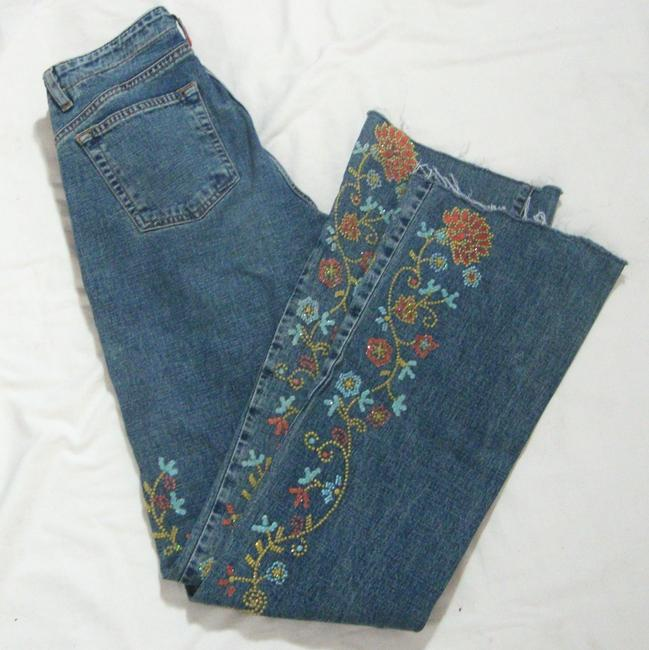 Guess Crystals Low Rise Stretchy Button Fly Flare Leg Jeans-Medium Wash Image 2