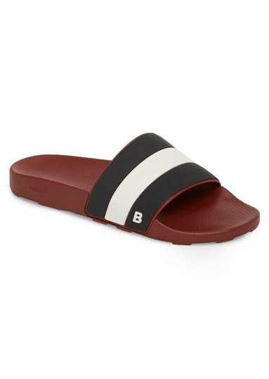 Bally Red Sleter Striped Rubber Logo Sandal Slides D 12 Us 45 Italy Shoes Image 0