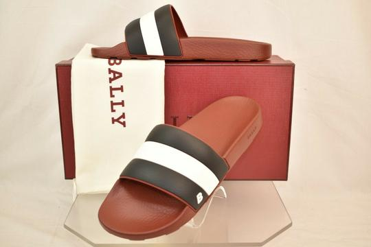 Bally Red Sleter Striped Rubber Logo Sandal Slides D 12 Us 45 Italy Shoes Image 1
