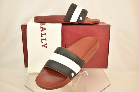 Bally Red Sleter Striped Rubber Logo Sandal Slides D 12 Us 45 Italy Shoes Image 2