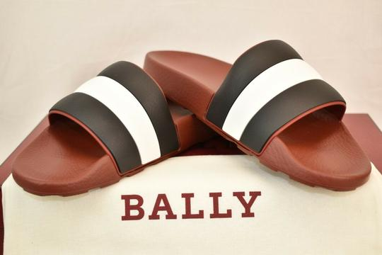 Bally Red Sleter Striped Rubber Logo Sandal Slides D 12 Us 45 Italy Shoes Image 3