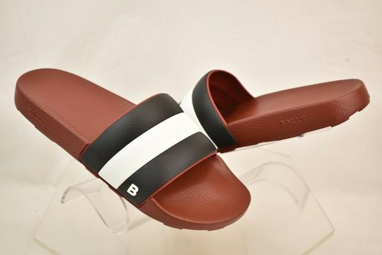 Bally Red Sleter Striped Rubber Logo Sandal Slides D 12 Us 45 Italy Shoes Image 5