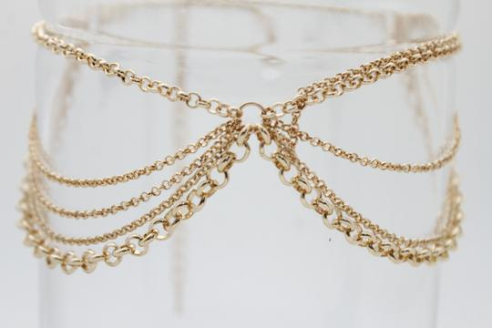 Other Women Choker Gold Metal Chain Multi Strands Necklace Fashion Jewelry Image 1
