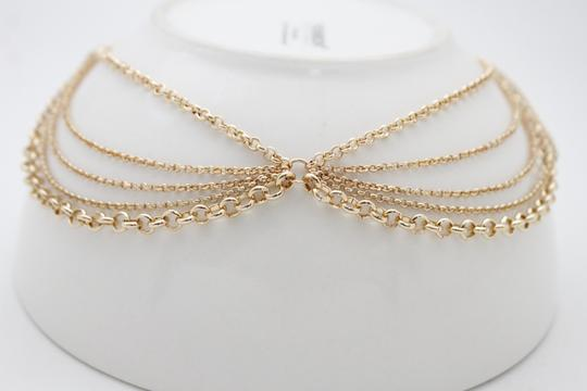 Other Women Choker Gold Metal Chain Multi Strands Necklace Fashion Jewelry Image 3