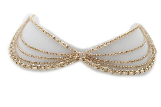 Other Women Choker Gold Metal Chain Multi Strands Necklace Fashion Jewelry Image 7