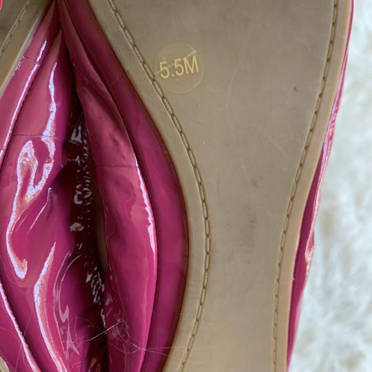 Tory Burch Patent Leather Pink Logo Work Fuschia Flats Image 2