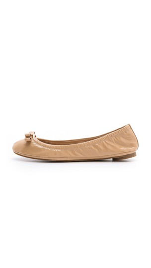 Tory Burch Patent Leather Logo Ballet Work Tan Flats Image 0