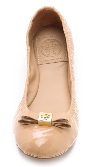 Tory Burch Patent Leather Logo Ballet Work Tan Flats Image 1