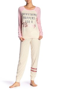 P.J. Salvage Knit Soft Elastic Rayon Relaxed Pants Oatmeal