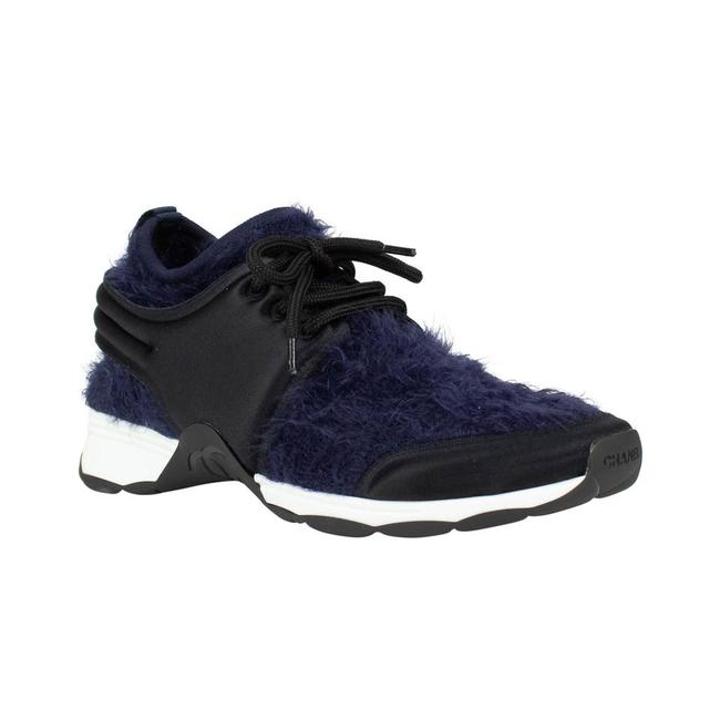 Item - Navy Classic Stretch Fabric Cc Black Leather Lace Up Low-top Sneakers Size EU 36.5 (Approx. US 6.5) Regular (M, B)