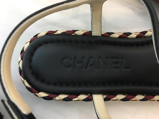 Chanel Classic Metallic Espadrille Flats Black Sandals Image 7