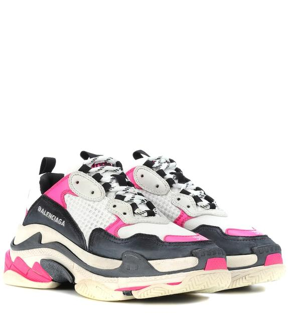 Item - Multicolor Classic Triple S Rose Pink Black White Leather Speed Flat Trainer Sneakers Size EU 40 (Approx. US 10) Regular (M, B)
