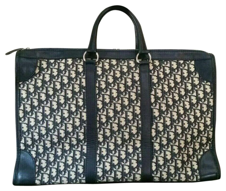df1b3e4b3a1 Dior Vintage Extra Large Oblique Trotter Book Navy Canvas Tote - Tradesy
