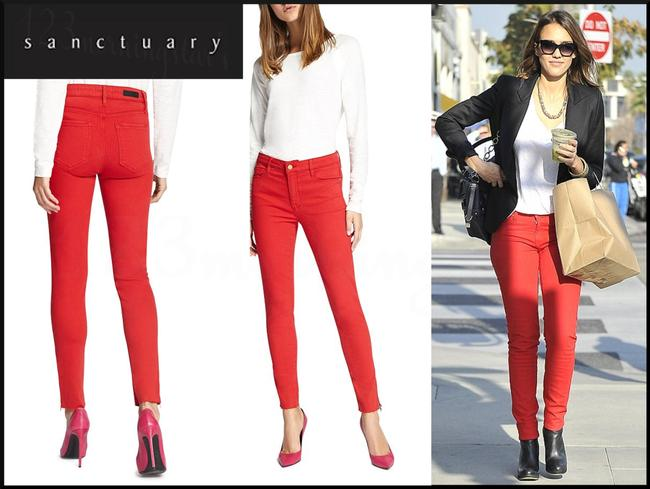 Sanctuary Standard Rise Tonal Stitching Ankle Leg Silhouette Zippered Cuffs Skinny Jeans Image 2
