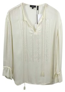 Theory #peasant #bohemian #silk #embroidered #simple Top IVORY