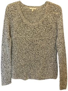 a9df2011 Eileen Fisher Ivory And Grey Scoop Neck Cotton Front Pocket Size Pp Pxs  Sweater