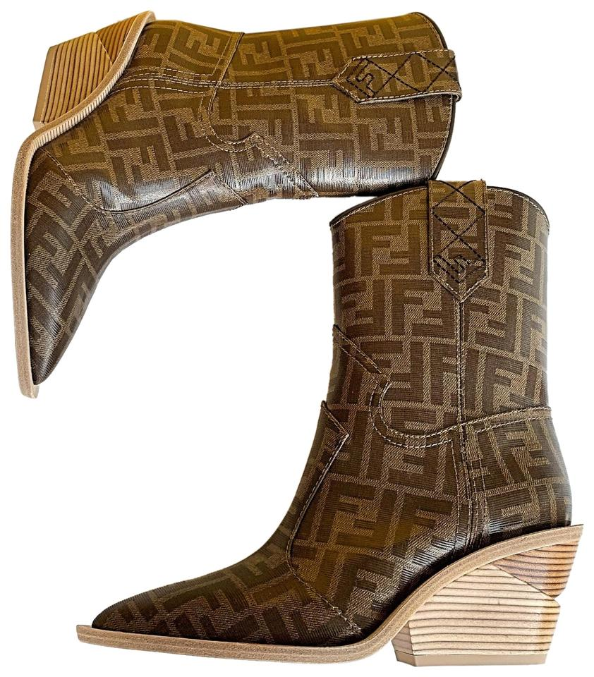 fdabea8e38d Fendi Brown Cutwalk Zucca Ff Logo Print Canvas Cowboy Western Boots/Booties  Size EU 37 (Approx. US 7) Regular (M, B)