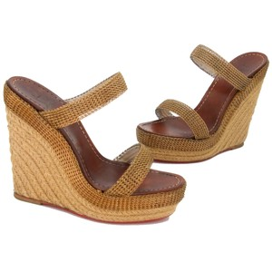 Christian Louboutin Chanel Summer Vacation Casual Influencers Bronze Gold Wedges