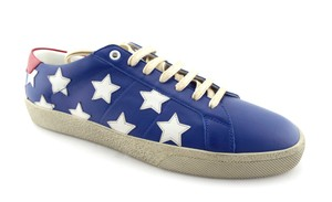 Saint Laurent Blue / White / Red Leather Star Low Top Men's Sneaker Eu42/Us9 Shoes