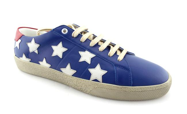 Item - Blue / White / Red Leather Star Low Top Men's Sneaker Eu42/Us9 Shoes