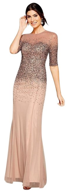 Item - Rose Gold Beaded Illusion Bodice Mesh Gown Elbow Sleeve Long Formal Dress Size 4 (S)
