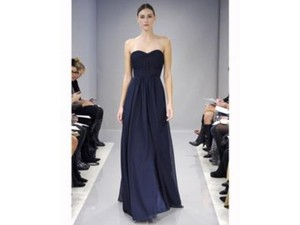 Monique Lhuillier Navy Chiffon 450124 Formal Bridesmaid/Mob Dress Size 8 (M)
