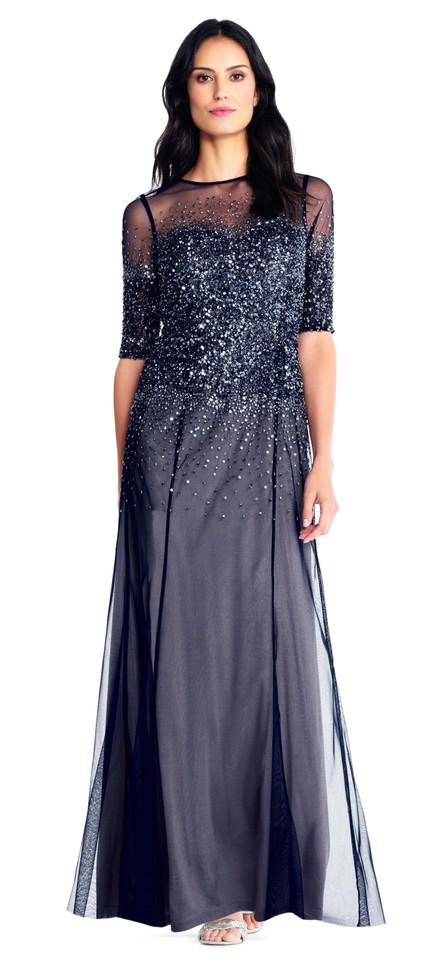 26ff9229f3 Adrianna Papell Beaded Evening Rose Gold Mesh Embellished Dress Image 0 ...