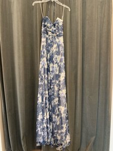 Amsale Printed French Blue Crinkle Chiffon Ga110c Casual Bridesmaid/Mob Dress Size 4 (S)