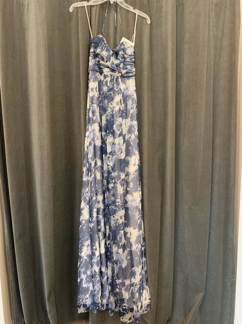 Item - Printed French Blue Crinkle Chiffon Ga110c Casual Bridesmaid/Mob Dress Size 4 (S)