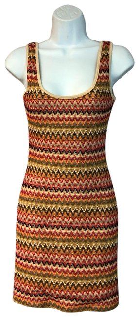 Item - Multicolor Stretch Knit Short Casual Dress Size 6 (S)