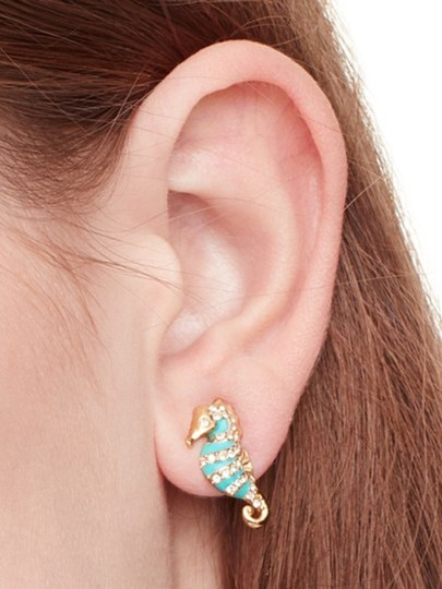 Kate Spade KATE SPADE Paradise Found Seahorse Stud Earrings Gold Plated Image 3