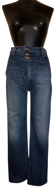 Item - Blue Medium Wash Shady Pleated Ankle Fray High-rise Straight Leg Jeans Size 4 (S, 27)