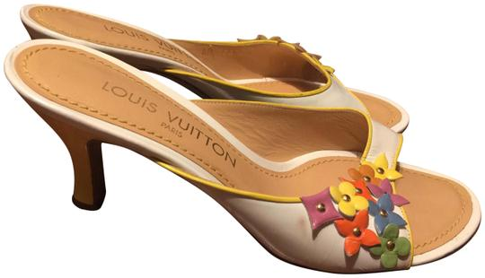 Louis Vuitton white with multi-color floral logos Mules Image 0