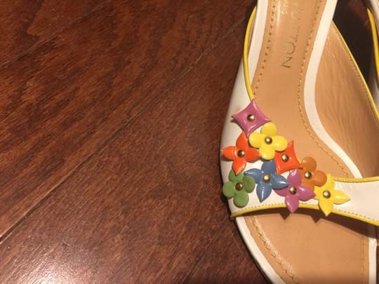 Louis Vuitton white with multi-color floral logos Mules Image 1