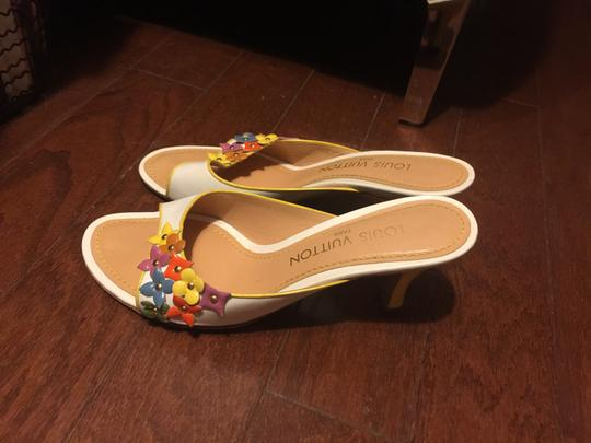 Louis Vuitton white with multi-color floral logos Mules Image 3