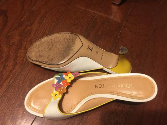 Louis Vuitton white with multi-color floral logos Mules Image 8