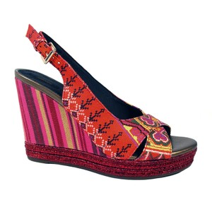 Geox Wedge Textile Party Summer Red, Pink Platforms