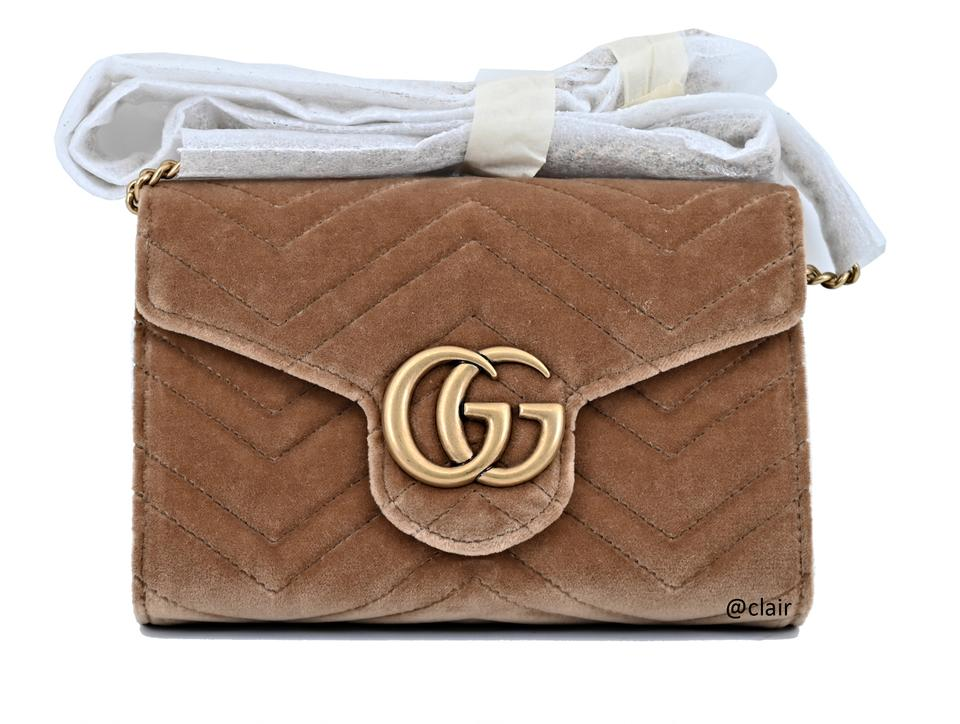 679b7998723b Gucci Marmont Gg 2.0 Matelassé Mini Chain Taupe Velvet Cross Body ...