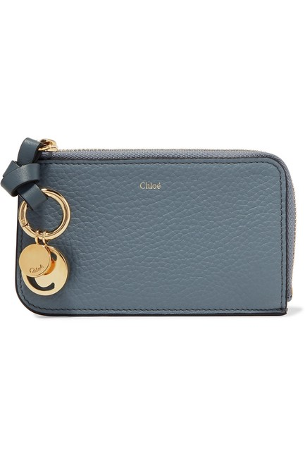 Item - Cloudy Blue Alphabet Purse with Card Slots In Small Grain & Smooth Calfskin Wallet