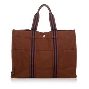 Hermès 9dheto006 Vintage Canvas Tote in Brown