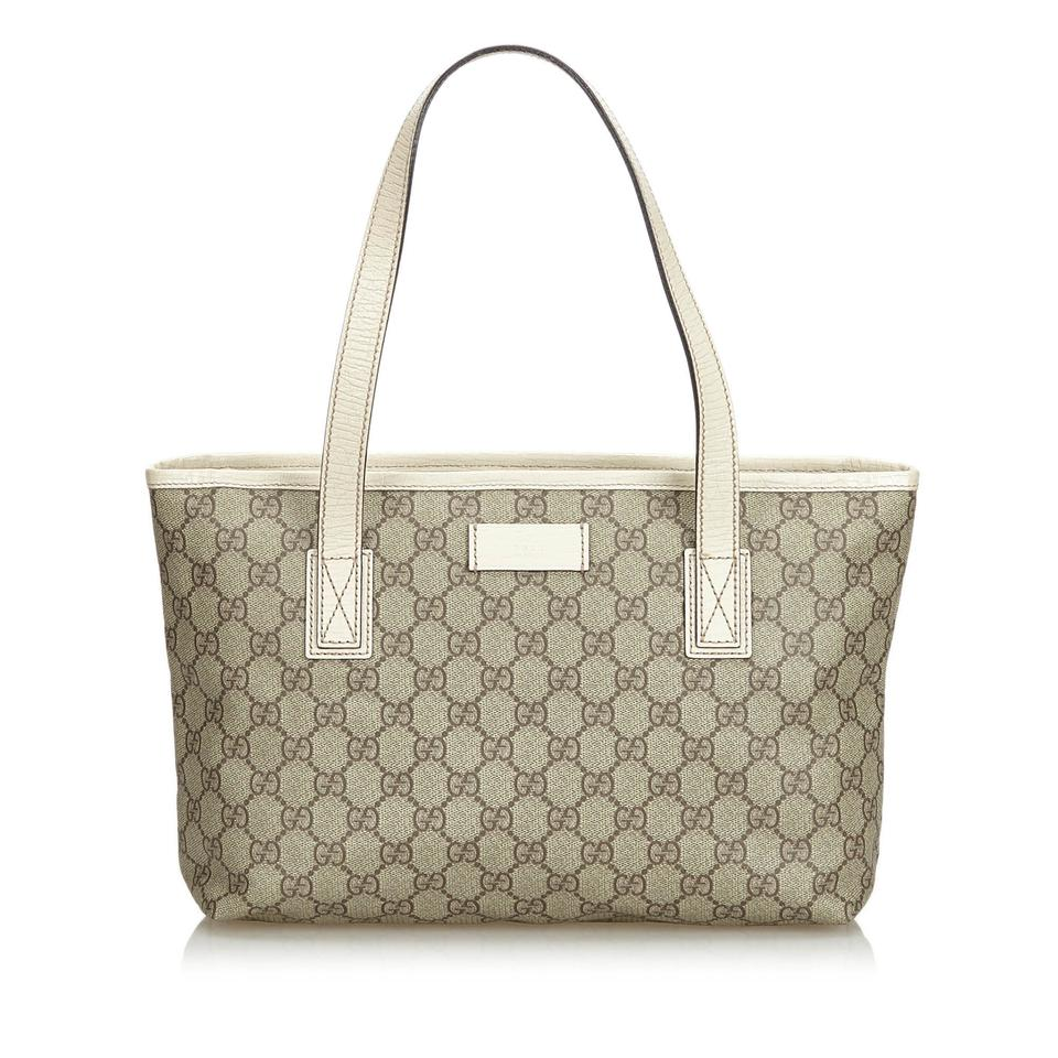 92a0c3e8a6fd Gucci Bag W Beige Pvc Gg Italy Dust Brown Plastic Leather Tote - Tradesy