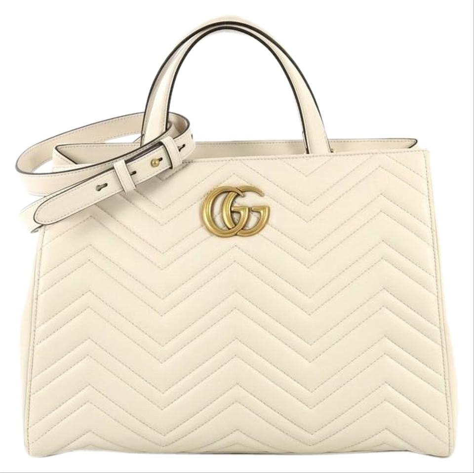 d25a230f4 Gucci Marmont Matelasse Medium Off White Leather Tote - Tradesy