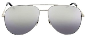 Saint Laurent Yves Saint Laurent Silver Metal Aviator Sunglasses