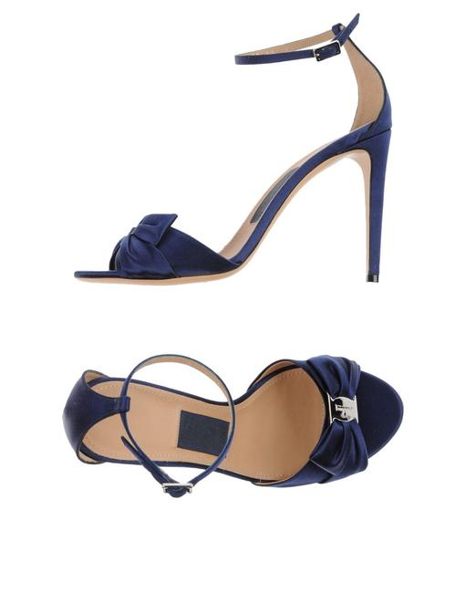 Item - Navy Blue Women Prina Satin Ankle Strap Bow Sandals Size US 11 Regular (M, B)